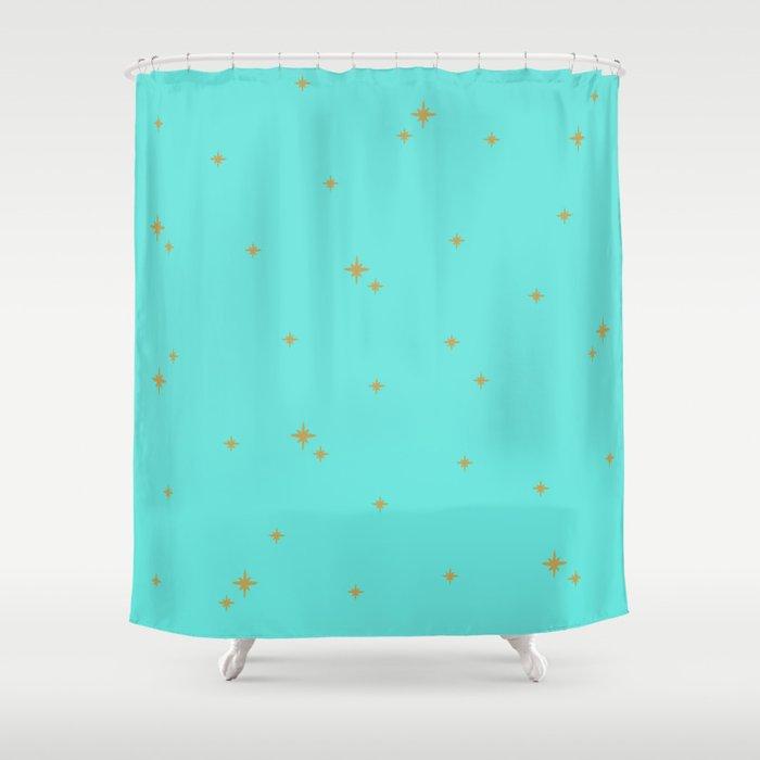 Turquoise Starburst Pattern Shower Curtain