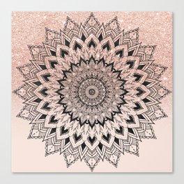 Boho black watercolor floral mandala rose gold glitter ombre pastel blush pink Canvas Print
