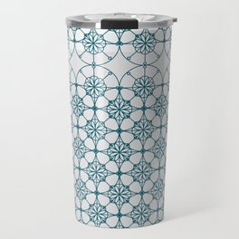 Portuguese Tiles of the Algarve in White with Glitch Travel Mug