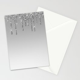 Gray & Silver Glitter Drips Stationery Cards