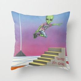 Rollerblading Alien Throw Pillow
