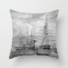 U.S. Naval Fleet During The Civil War Throw Pillow