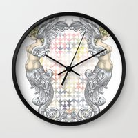 angels Wall Clocks featuring Angels by FakeFred