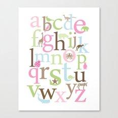 Alphabet Animals - Brooke colorway Canvas Print