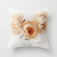 peonies Throw Pillows featuring Peonies by Ellen van Deelen