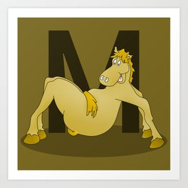 Pony Monogram Letter m Art Print