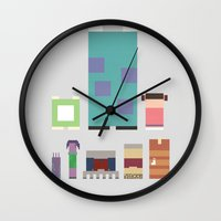 monster inc Wall Clocks featuring Monsters Inc. by Raquel Segal