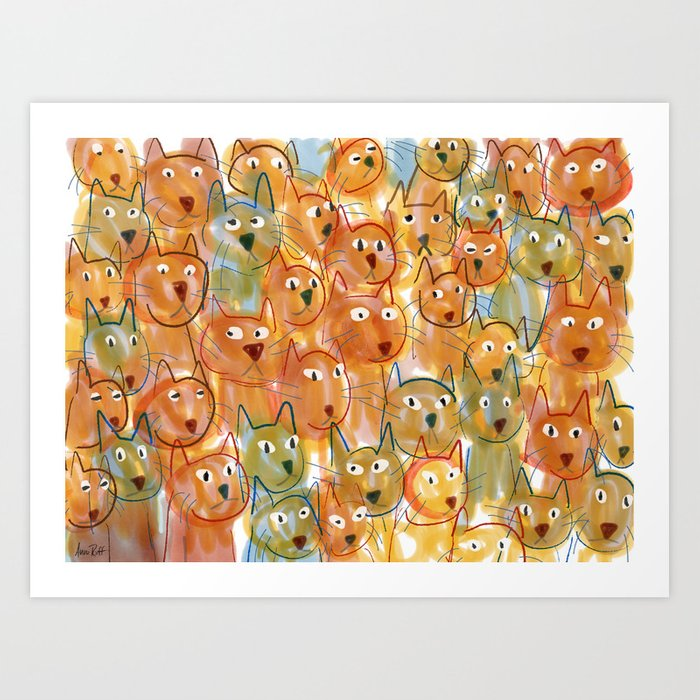 Cat Crowd Art Print