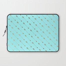 Modern teal faux gold bohemian chic arrow pattern Laptop Sleeve