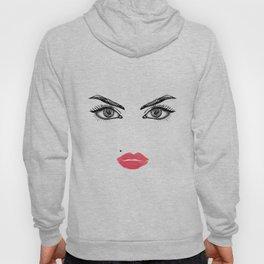 Printable Art,Makeup Face,Makeup Illustration,Lips Print,Eyelashes Print,Bathroom Decor,For Her Hoody