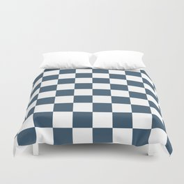 Dusky Blue Checkers Pattern Duvet Cover