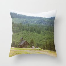 Forest Mountain Church Throw Pillow