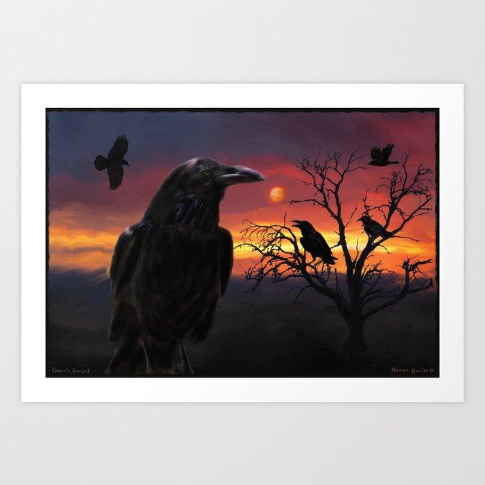 Raven Sunset Art Print