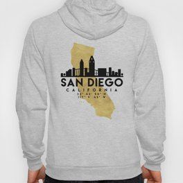SAN DIEGO CALIFORNIA SILHOUETTE SKYLINE MAP ART Hoody