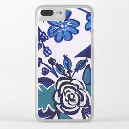 Blue Folk Art Floral Clear iPhone Case