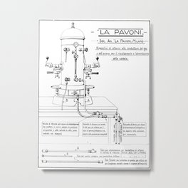 La Pavoni Patent Drawing Poster (Very Old & Rare) Metal Print