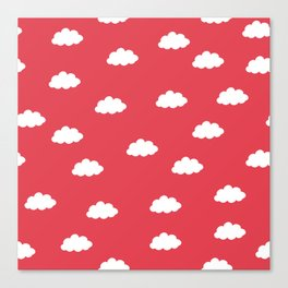 White clouds in red background Canvas Print