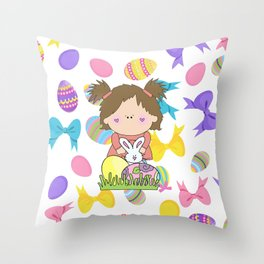 Easter Eggs Girl Throw Pillow