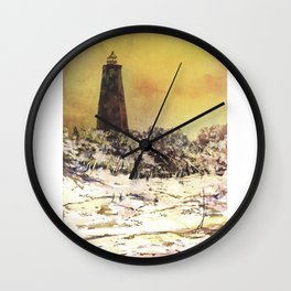 Watercolor painting of Old Baldy Lighthouse on Bald Head Island- North Carolina Wall Clock
