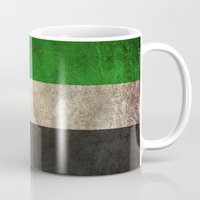arab Mugs featuring Old and Worn Distressed Vintage Flag of United Arab Emirates by Jeff Bartels