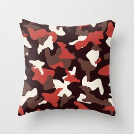 Red camo camouflage army pattern Throw Pillow