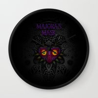 majoras mask Wall Clocks featuring Majora's Mask by Art & Be