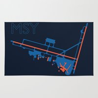 60s Area & Throw Rugs featuring New Orleans (MSY) - 60s by Kyle Rodgers