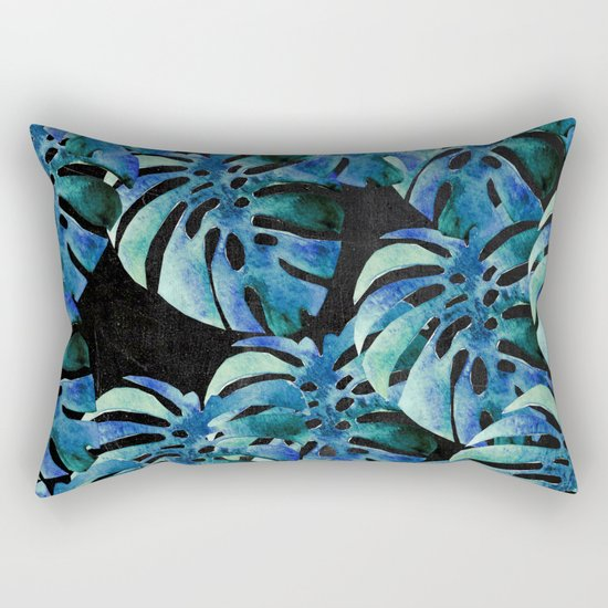 Monstera Pattern Blue On Chalkboard Rectangular Pillow