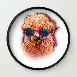 Poodle Apricot Colorful Neon Dog Sunglasses Wall Clock