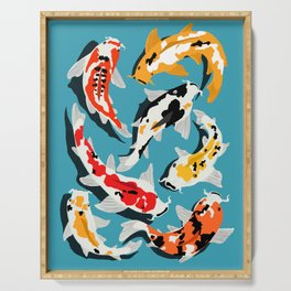 Colorful Koi Carps Swimming Around Serving Tray