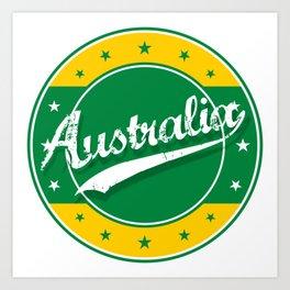 Australia, circle, green yellow Art Print