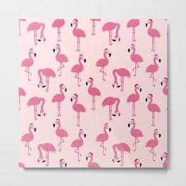 Flock of Christmas Flamingos Metal Print