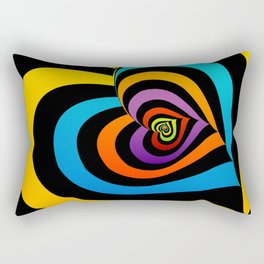 Valentine hearts twirling in rainbow colors Rectangular Pillow