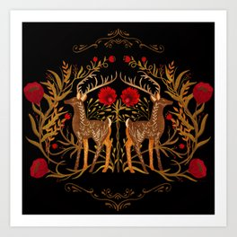 Two Stags Protecting The Dark Forest Gate Art Print