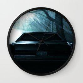 CAR AT DRAMATIC STREET DURING NIGHT Wall Clock