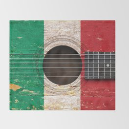 Old Vintage Acoustic Guitar with Italian Flag Throw Blanket