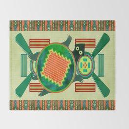 Native American Folk Art Turtle Throw Blanket