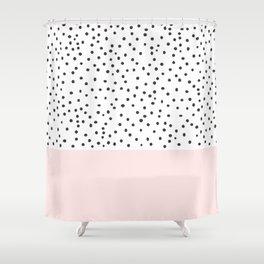 Pastel pink black watercolor polka dots pattern Shower Curtain