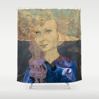 tina crespo Shower Curtains featuring Tina by Nina Schulze Illustration