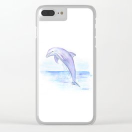 Dolphin Watercolor Clear iPhone Case