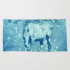 Horse and faerie lights Beach Towel