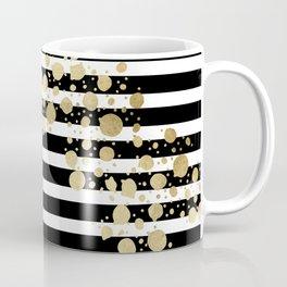 Faux Gold Paint Splatter on Black & White Stripes Coffee Mug