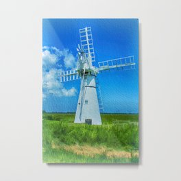 Thurne Dyke Mill Textured Metal Print