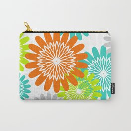 Warm Flower Stencils Lime Orange Turquoise Carry-All Pouch