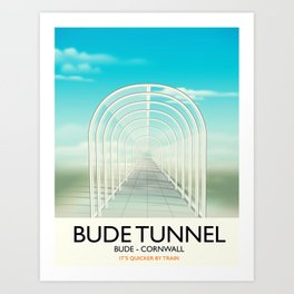 Bude Tunnel - Cornwall travel poster Art Print