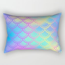 Blue Yellow Mermaid Tail Abstraction Rectangular Pillow