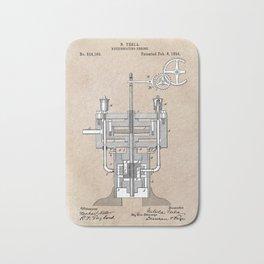 paten art Tesla Reciprocating engine 1894 Bath Mat