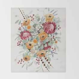Fall Protea Bouquet Throw Blanket