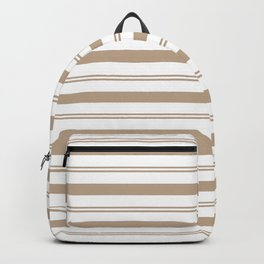 Pantone Hazelnut and White Stripes, Wide and Narrow Horizontal Line Pattern Backpack