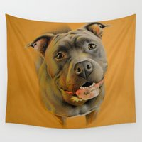 pit bull Wall Tapestries featuring American pit bull terrier by Frederica Morgan